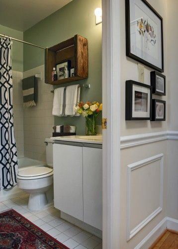 Bathroom renovation design same color fixtures espresso vanity white top maybe bring tile to - Apartment renovation ideas ...