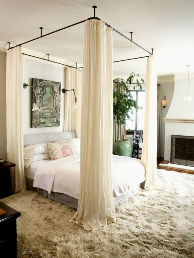 Contemporary iron canopy bed hang your canopy from the ceiling Images 05