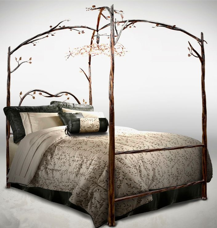 Great wrought iron canopy bed with detailed iron branches Images 06