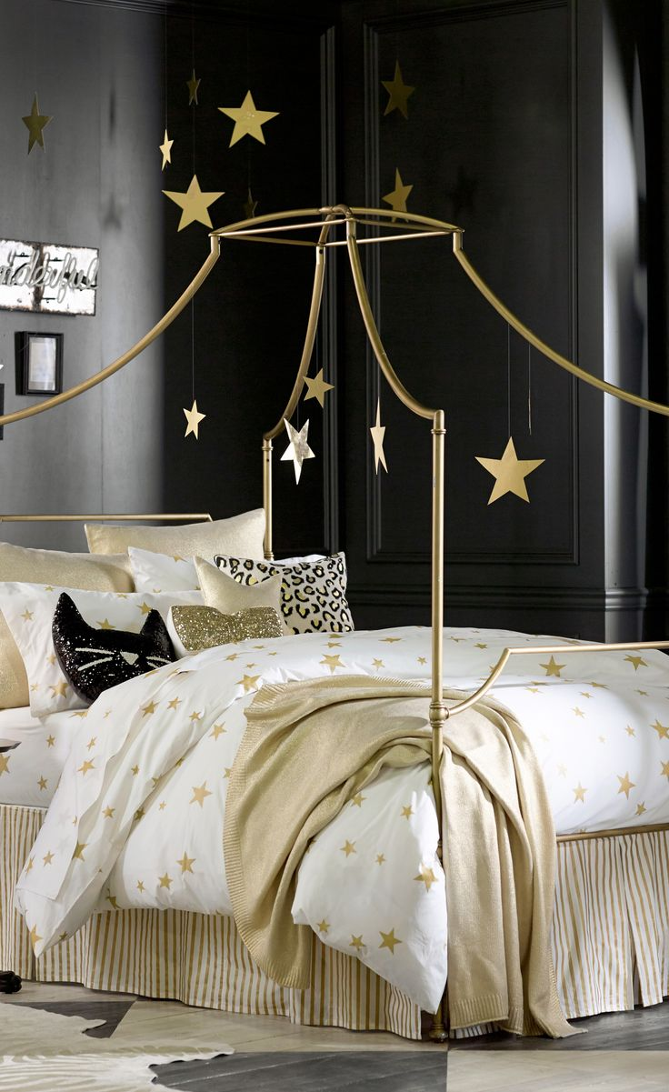 Metal Canopy Bed Maison Iron Canopy Bed Gold Color Pictures 16