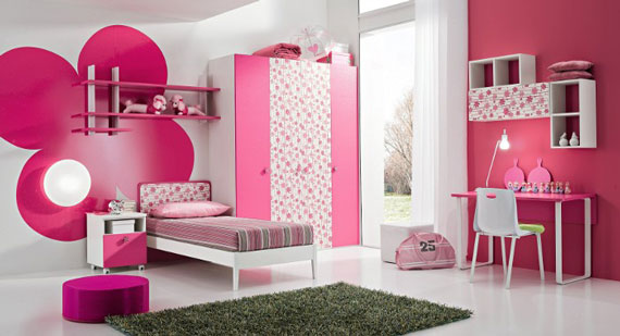 Minimal teenage bedroom ideas pink color for girls with desk and wardrobe pic08