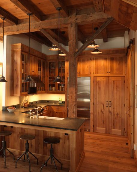Modern Rustic Kitchen Design Stone or Tile to Balance the Wood Out Images 018