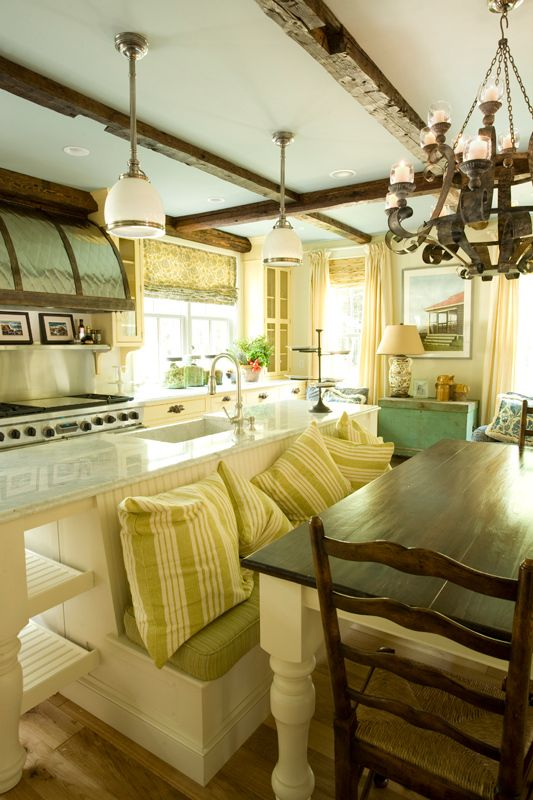 Modern rustic kitchen designs butter yellow cabinetry and exposed ceiling beams pictures 23