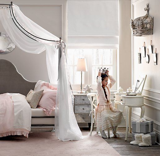 Pretty Iron Canopy Bed for Princess Girls Sheer Belgian Linen Bed Canopy Panels Photos 022