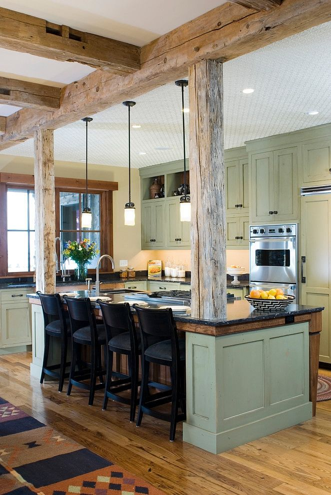 Rustic kitchen ideas wooden beams attached to island create an intimate eating space pic04