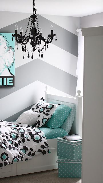 Simple teen girl bedroom ideas love the chevron walls with the turquoise bedding pictures 26