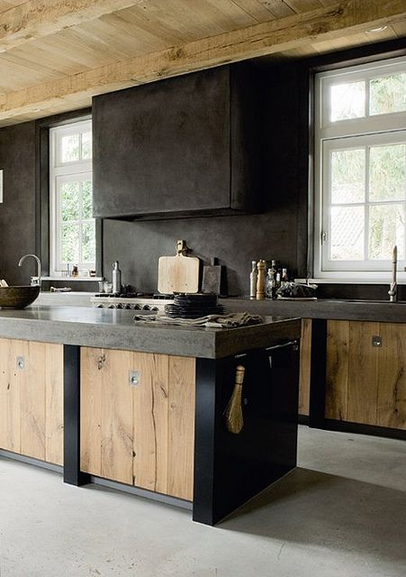 modern rustic kitchen designs black color ideas img09