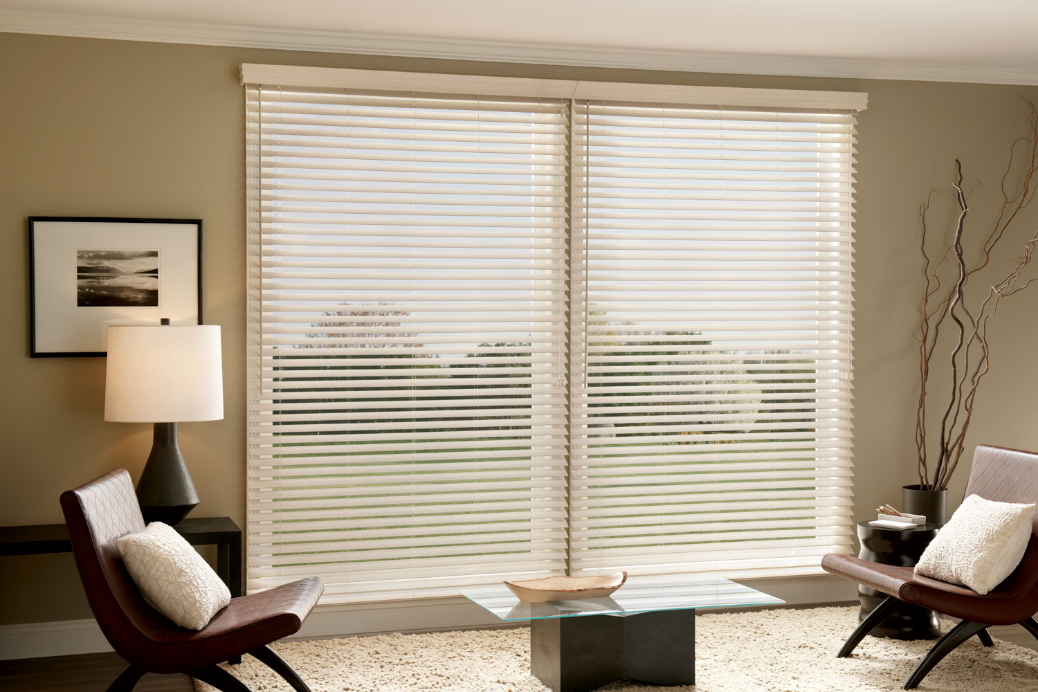 2 Faux Wood Window Blinds For Decorating Your Living Room