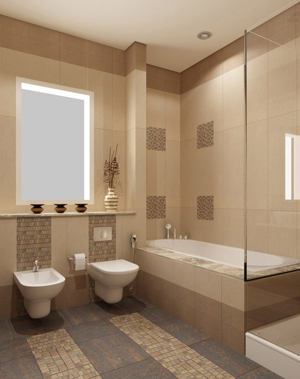 Contemporary beige toilets and sinks ideas with wooden cantilever and glass bathroom vanity with - Beige bathroom design ...