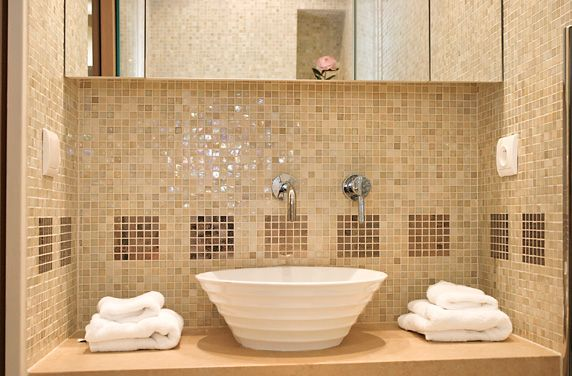 beige toilets and sinks ideas with two beige mosaic tiles - Bathroom Designs With Mosaic Tiles
