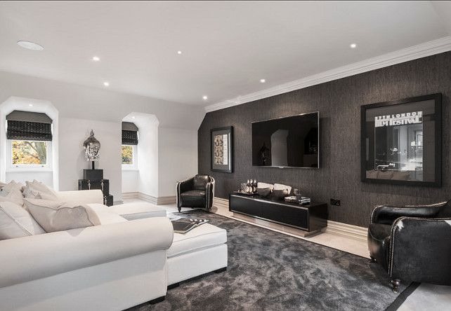 Black And White Entertainment Centers Very Comfortable And Masculine Media Room Living Room Home Theater