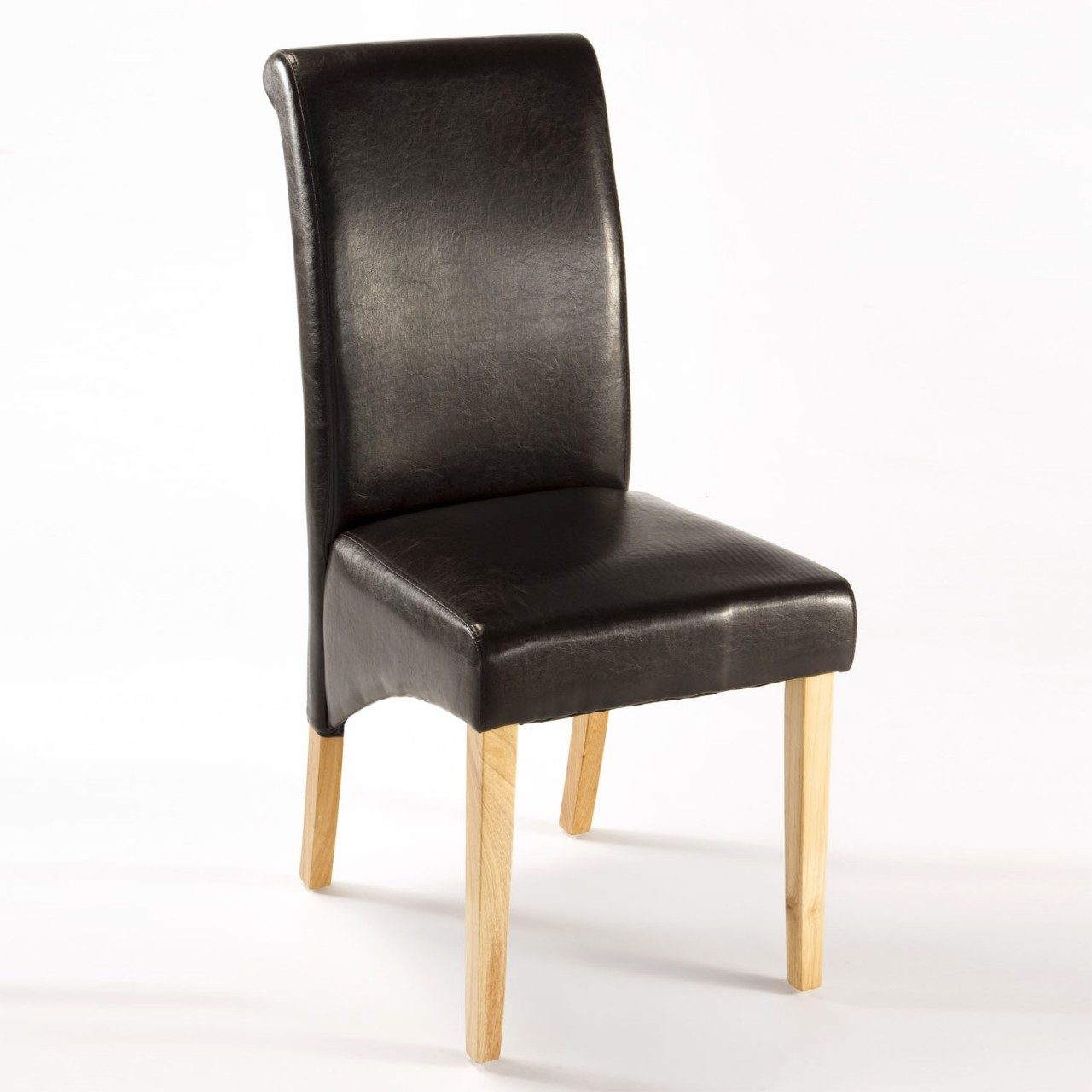 Ebony leather dining chairs