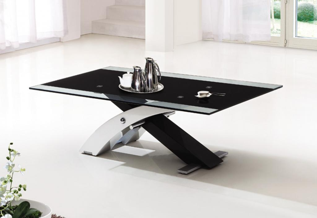 Contemporary glass coffee tables black and white comprises of an x shape black and white colour Black and white coffee table