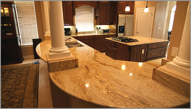 Elegant Gold Granite Kitchen Countertops Pic4