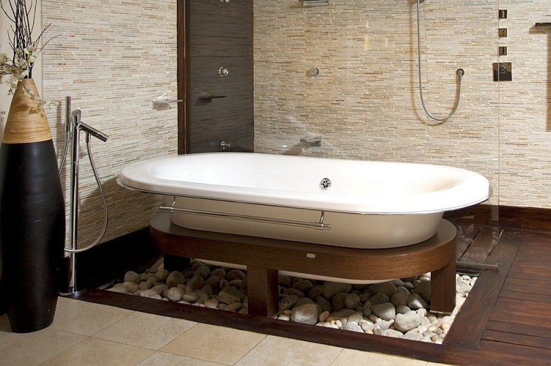 Fantastic Bathroom Classic White Free Standing Bathtub Furniture That Have Wood Legs Materials And Corner Space Shower Room Design