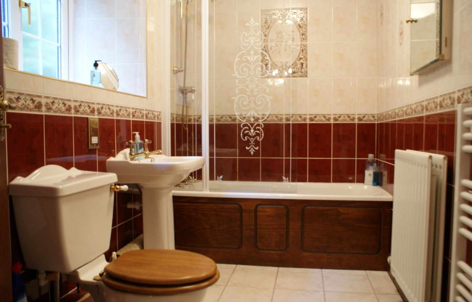 Fantastic Wooden Furniture And Pedestal Sinks Create Atmosphere Retro Bathroom Red And Beige Toilet Bowl Sink And Combined Shower