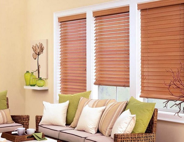 Faux Wood Blinds Decorate Windows To Be Perfect