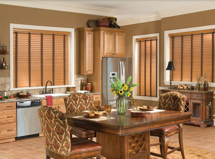 Faux Wood Blinds In Kitchen And Dining Room Area Pictures