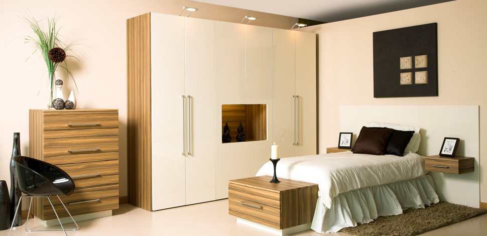 High Gloss Fitted Bedroom Furniture Cream Made To Measure Bedroom With