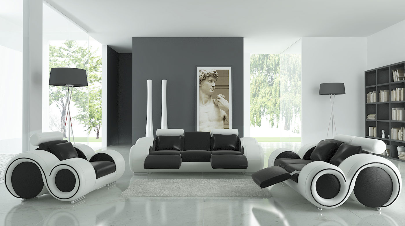 Futuristic Living Room Couch Ideas Modern Black White Living Room Furniture Decor Design