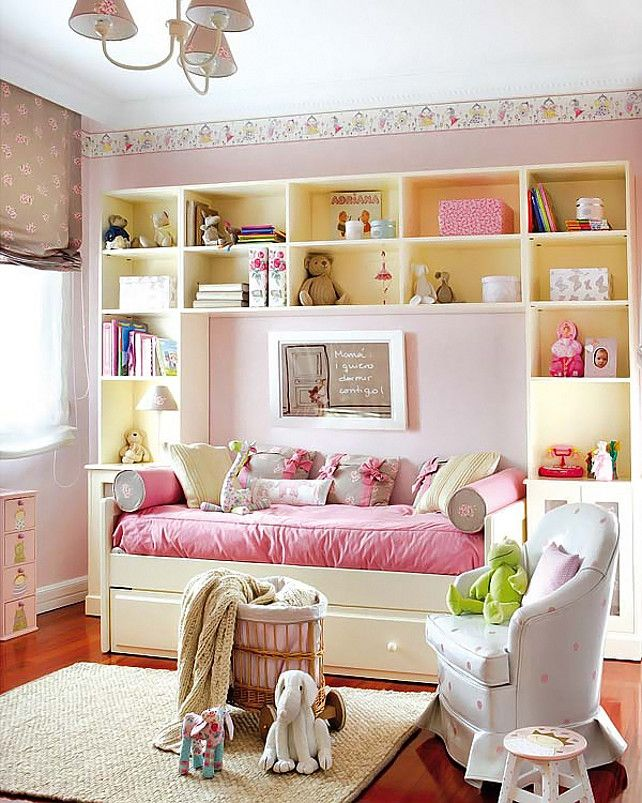 Girl's Bedroom Ideas Use Of Space For Trundle Bed Placement Center Of Shelves Pic 9