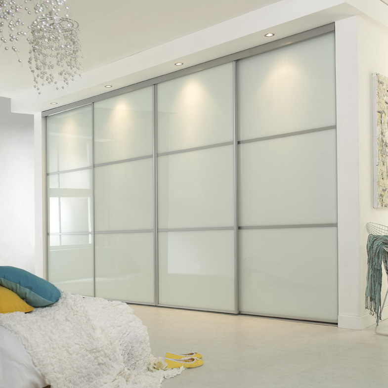 Glass Sliding Doors Wardrobe Witn Cream Color