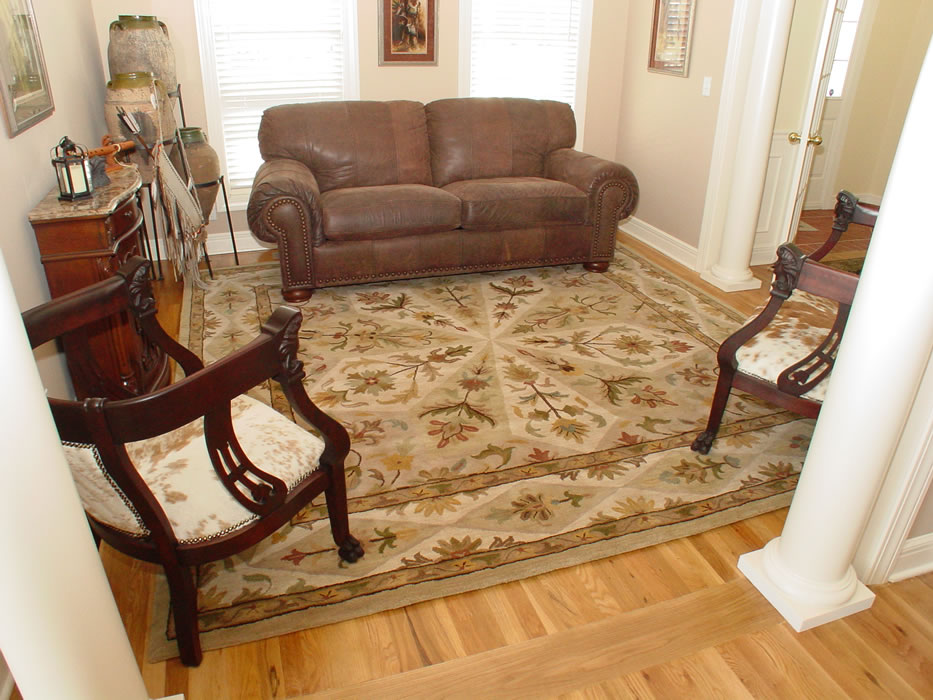 Great Square Oriental Rug Properly Sized For The Room And The Furniture Area