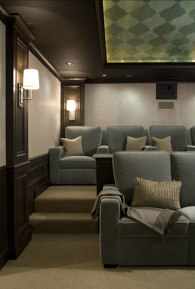 Leather home theater furniture media room project lights for House plans with media room