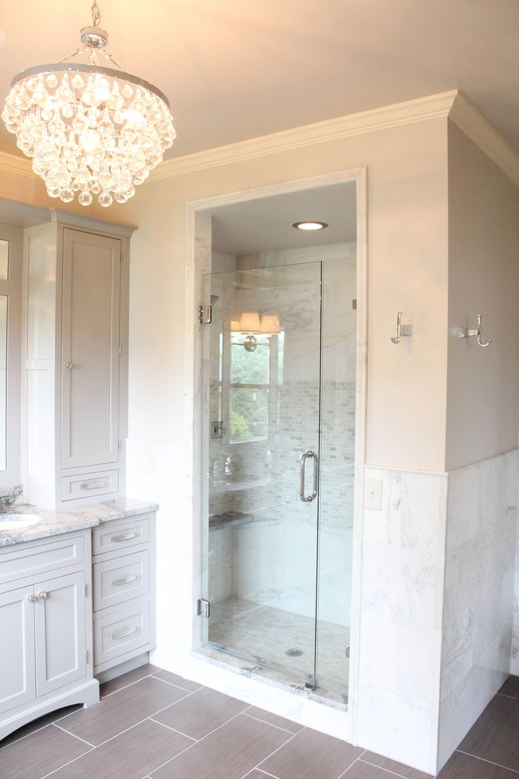 White bathroom ideas polished nickel fixtures grey for Master bathroom no door