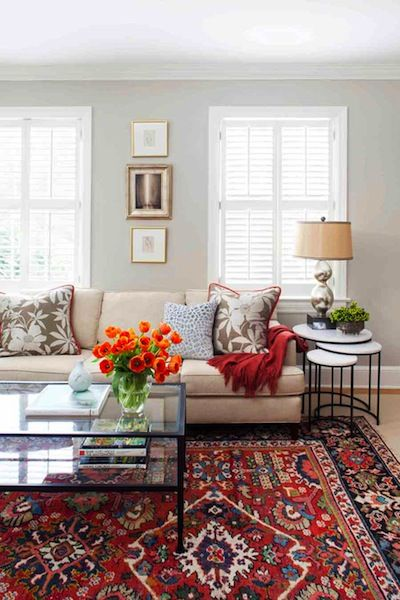Inspiring Transitional Living Room With Custom Area Rug, Custom Textiles And Nesting Tables