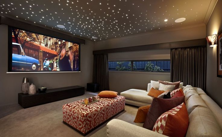 Leather Home Theater Furniture Media Room Project Lights Stars On The Ceiling