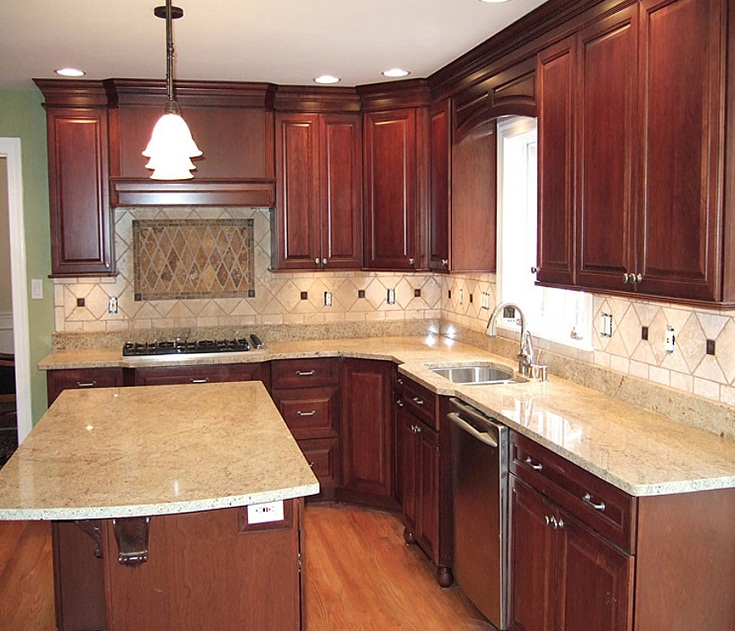 Luxurious White Spring Granite For Kitchen Countertop With Dark Cabinets Images17