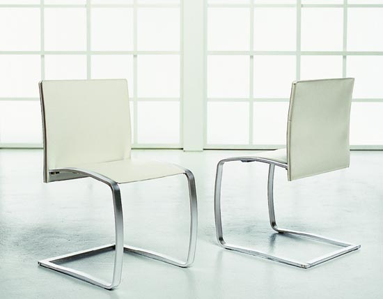 Modern white leather dining chairs home interior design for Modern white leather dining chairs