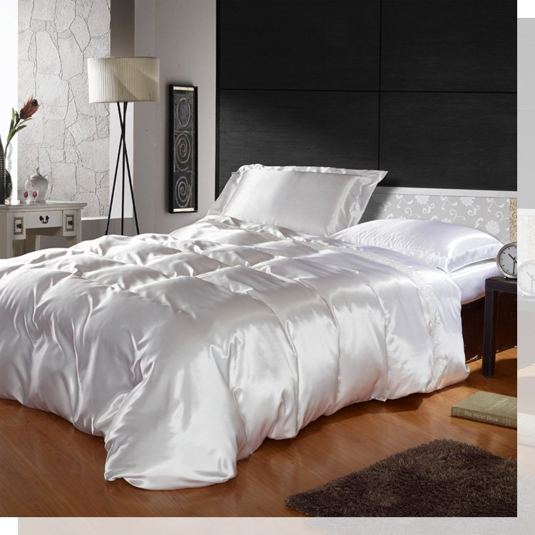 noble silk bedding set minimal luxury bed linen quilt cover bed sheet pillowcase pictures 17