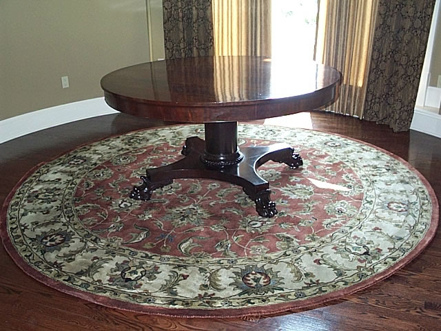 Round Oriental Wool Area Rug With Round Table