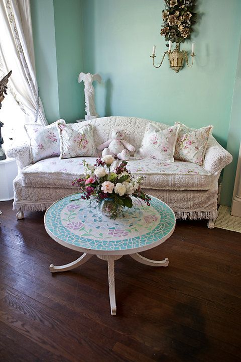 Shabby Chic Sofa Ideas Camel Back Slipcover Bedspread Roses Cottage Vintage White Pink Aqua