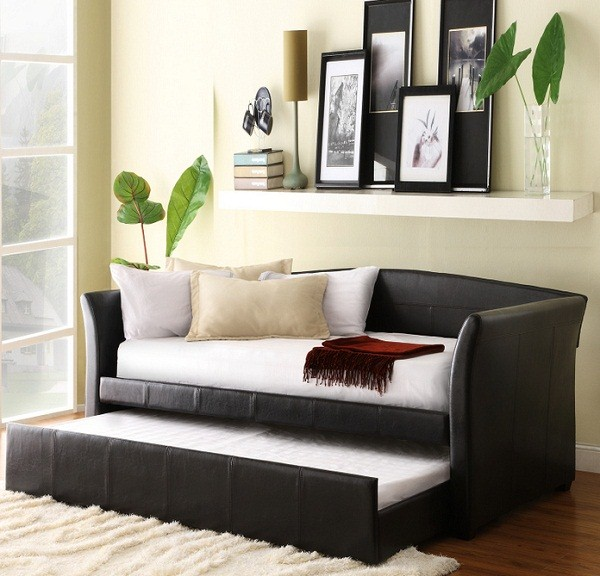 Vinyl Daybed With Trundle Solid Hardwood Frame Images 20