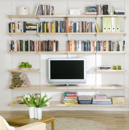 White Living Room Wall Shelf Ideas With Hanging Birch Wooden Shelves Img31 Ledge Interior Design