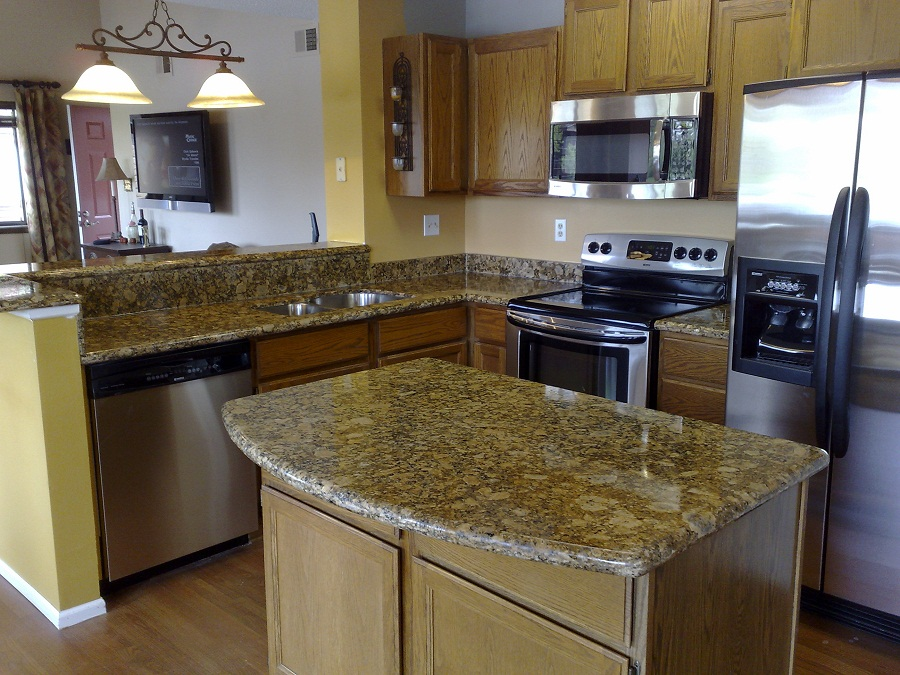 Yellow Granite Countertop And Wooden Kitchen Cabinet