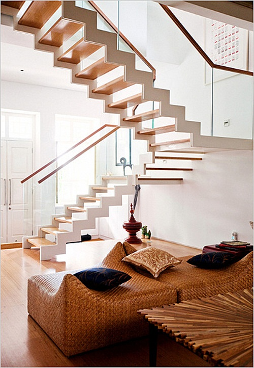 Contemporary Switchback Stairs Design With Laminate Flooring