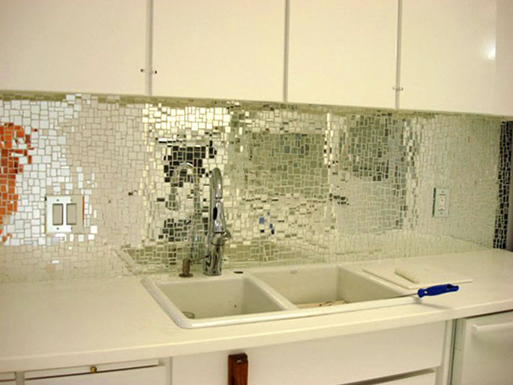Glass Mirrored Backsplash Tile Kitchen