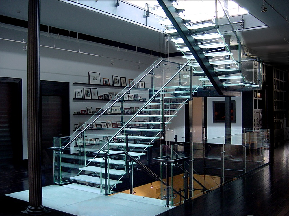 Incredible Switchback Stairs Railings And Ornamental Glass