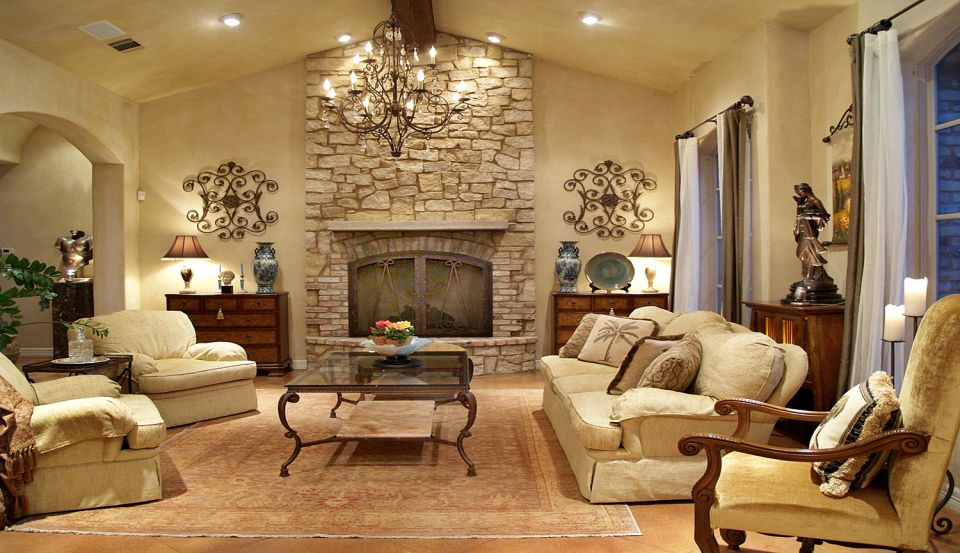 Incredible tuscan living room austin with rectangular for Rectangular living room designs
