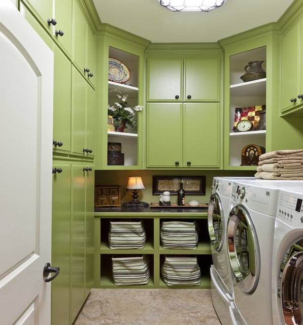 Laundry Room Storage Cabinets With Green Colors
