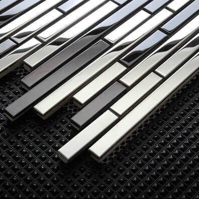 Stainless Steel Mosaic Mirrored Backsplash Tile Sample