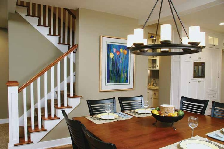 Switchback Stairs With Dining Room Area