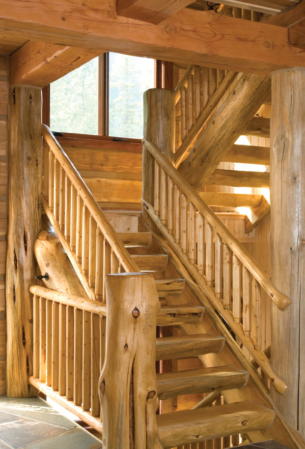 Switchback Stairs With Rustic Natural Wood