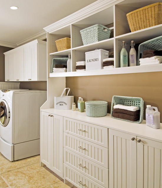 Traditional Laundry Room Storage Cabinets