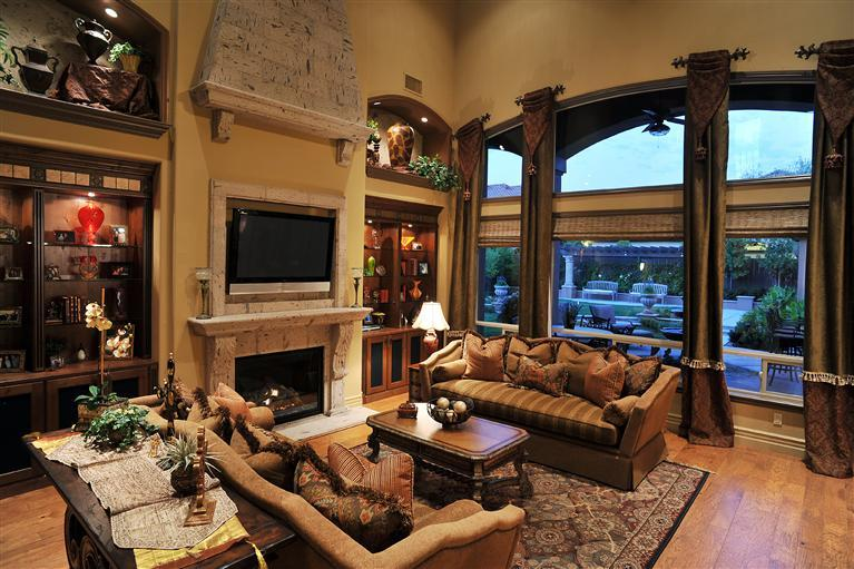 Tuscan style living room ideas with beige sofa and wooden for Tuscan style homes interior