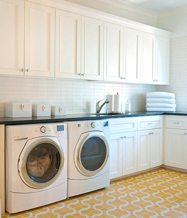 White Laundry Room Storage Cabinets With Perfect Flooring